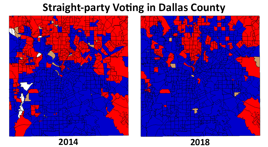 Map of precinct-level straight-party vote in 2014 and 2018